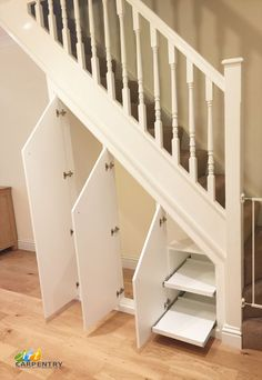 Fitted under stairs cupboard storage Understairs Storage cupboard fitted stairs . Fitted under sta Under Stairs Cupboard Storage, Staircase Storage, Hallway Storage, Under Stairs Pantry, Hall Storage Ideas, Staircase Bookshelf, Alcove Storage, Alcove Cupboards, Kitchen Cupboard Storage