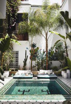 Riad Yasmine: The hippest dip in Marrakech - YOU Magazine Outdoor Spaces, Outdoor Living, Outdoor Decor, Deco Spa, Kleiner Pool Design, Moroccan Garden, Moroccan Style, Greenhouse Interiors, Moroccan Interiors