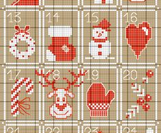 *Calendrier de Noël au point de croix, free* Tiny Cross Stitch, Xmas Cross Stitch, Cross Stitch Books, Cross Stitch Needles, Cross Stitch Designs, Cross Stitch Embroidery, Cross Stitch Patterns, Sewing Cards, Christmas Embroidery