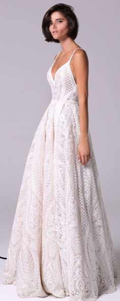 Wedding Gown Romantic vintage voluminous dress embellished with crystals and beads that adorn the neckline spaghetti strap crochet lace full skirt wedding dress : Michal Medina Wedding Dress Cinderella, Wedding Dress Empire, Wedding Dress Tea Length, Wedding Dress Black, Top Wedding Dresses, Wedding Dress Trends, Bridal Dresses, Wedding Gowns, Wedding Ceremony