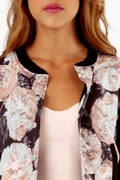 cute bomber jackets will math any pair of jeans Cute Bomber Jackets, Style And Grace, My Style, Floral Bomber Jacket, Her Hair, Ruffle Blouse, Blazer, Flower Power, How To Wear