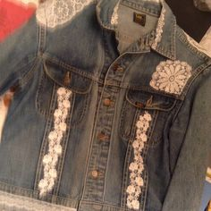 Going going GONE! This sweet lace embellished denim jacket is off to its new home today. I still have a couple of country western jean blazers left, ready to ship. More boho chic lace scarves & hoodies, bead necklace sets & fiber necklaces in my shop.