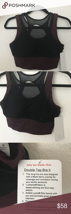 NWT DKAD LULULEMON DOUBLE TAP BRA - - Size 10 Brand: Lululemon Athletica double tap bra              Condition: New with tag || Size 10 || DKAD black dark adobe      📌NO  TRADES  🛑NO LOWBALL OFFERS  ⛔️NO RUDE COMMENTS  🚷NO MODELING  ☀️Please don't discuss prices in the comment box. Make a reasonable offer and I'll either counter, accept or decline.   I will try to respond to all inquiries in a timely manner. Please check out the rest of my closet, I have various brands. Some new with tag…