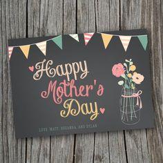 Mothers Day Card - Printable, Custom - DIY, MODERN, Chalkboard, Rustic