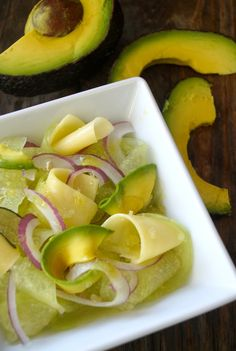 Shaved Avocado-Melon Salad Melon | cookingontheweekends.com