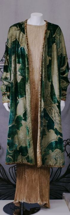 Mariano Fortuny Green Renaissance Pattern Velvet Persian Coat | From a collection of rare vintage coats and outerwear at https://www.1stdibs.com/fashion/clothing/coats-outerwear/