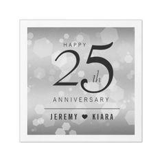#template - #Elegant 25th Silver Wedding Anniversary Paper Dinner Napkin