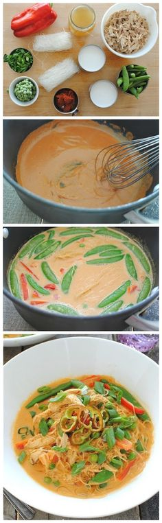 Coconut Curry Chicken Soup minus the chicken. Made with healthy coconut milk and chicken broth. I Love Food, Good Food, Yummy Food, Tasty, Coconut Curry Chicken Soup, Soup Recipes, Cooking Recipes, Recipies, Asian Recipes