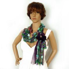 Scarf lariat necklace, Infinity scarf, Fiber art scarf, Fringe tassel scarf, Gypsy hippie scarf, Spring fashion scarf, Boho fiber necklace