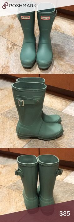 Hunter original short boot Beautiful green color. Great for petite frame. Good used condition. Worn just for 3 day trip to Iceland. Some scuffing on toe portion.  Size 5/EU5, but run big. My normal heel size is 5.5 and athletic shoes 6. Hunter Boots Shoes Winter & Rain Boots