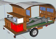 Trailer camper design - Everything About Caravan Teardrop Camper Plans, Teardrop Caravan, Teardrop Camper Trailer, Off Road Camper Trailer, Trailer Diy, Small Camper Trailers, Small Campers, Mini Camper, Camper Van