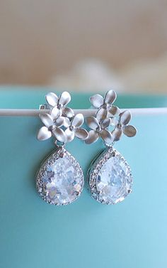Silver Post Earrings Silver Cherry Blossoms Flower