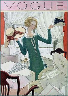 Vintage Illustration--Vogue-Hat Shopping