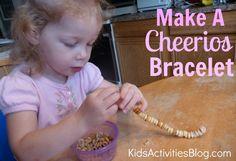 Make this Cheerios Bracelet for some fine motor skills fun!