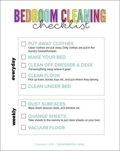 Bedroom Cleaning Checklist for Kids - The Incremental Mama Bathroom Cleaning Checklist, Daily Cleaning Checklist, Chore Checklist, Room Cleaning Tips, Kids Checklist, Kids Schedule, Weekly Cleaning, Bedroom Cleaning, Cleaning Kids Rooms