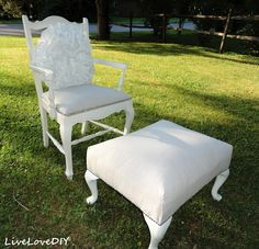 A chair and ottoman reupholstered with a drop cloth!