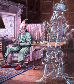 Ebenezer Scrooge is visited by the ghost of Jacob Marley. Description from lookandlearn.com. I searched for this on bing.com/images