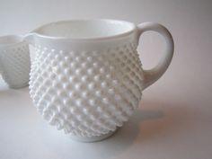 Vintage Fenton Milk Glass Hobnail Squat Jug  by mymilkglassshop, $48.50