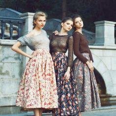 faldas años 50 estampadas con flores