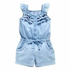 Denim Overall ShortsOWIKAR Baby Girls Rompers Lace Denim Vest Shorts Boat Neck Summer Dress For Age brand new and high quality. Material: cotton Seasons: Summer Suitable ages: years old girls Dress type: baby girls rompersKids Baby Girls Clothing Rom Baby Girl Romper, Baby Girl Dresses, Baby Dress, Baby Girls, Kids Girls, Toddler Girls, Girls Fit, Baby Boy, Baby Outfits