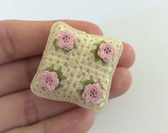 Miniature crochet pillow in pink white and cream Dollhouse