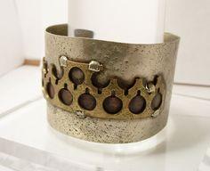 Lillo Israel Modernist Industrial Bracelet Mixed Metals Silver Copper Brass 1960's Unusual Studio by Oldtreasuretrunk on Etsy