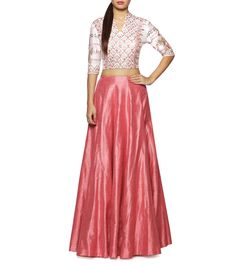 blouse designs by shaonleebhat-Pink Embroidered Raw Silk Skirt Set Indian Wedding Outfits, Indian Outfits, Ethnic Crop Top, Lehenga Crop Top, Lehenga Choli, Anarkali, Lehenga Blouse, Indian Attire, Indian Wear