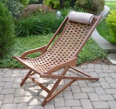 Outdoor Interiors The Original Eucalyptus Swing Lounger with Beige Pillow