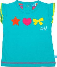 Origineel meisjes T-shirt met ruches aan de mouwen en hippe applicaties op de voorkant