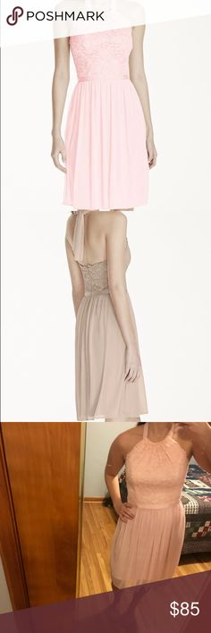 Bridesmaid dress Lace and mesh halter dress in the color petal; worn once Davids Bridal Dresses Wedding