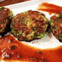 Aloo Tikki: #Potatoes mashed, mixed with a variety of masalas and shallow fried.