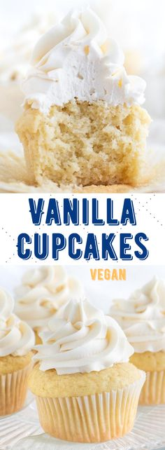 Easy vegan vanilla cupcakes with a sweet and creamy buttercream frosting! These are so irresistible and are ready in no time! #vegancupcakes #veganvanillacupcakes #vegandesserts Healthy Vegan Desserts, Vegan Dessert Recipes, Delicious Vegan Recipes, Raw Food Recipes, Kitchen Recipes, Coconut Cream Frosting, Buttercream Frosting, Vegan Vanilla Cupcakes, Easy Cupcake Recipes