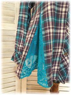 Upcycled Boho Romantic S to M Small to Medium Flannel Shirt Hippie Chic, Boho Chic, Diy Clothing, Boutique Clothing, Recycled Clothing, Shirt Refashion, Diy Shirt, Over 60 Fashion, Shirt Makeover