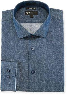 Neiman Marcus XTrim Fit Jacquard Dress Shirt