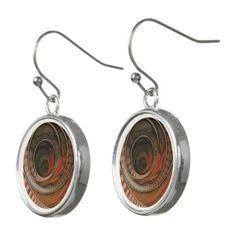 #beauty - #Three-Ring Circus Striped Symbol Fractal Circles Earrings