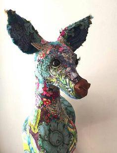 Frida Fawn Textile Sculpture, Art Dolls, Cow Art, Sculpture Art, Animal Art, Fabric Art, Textile Fiber Art, Taxidermy Art, Textile Artists