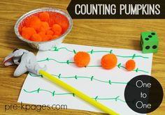 One to One Correspondence: Counting Pumpkins Math for Preschool and Kindergarten. Fine Motor + Pumpkins makes learning how to count super FUN! Halloween Theme Preschool, Fall Preschool, Halloween Activities, Autumn Activities, Kindergarten Activities, Fun Math, Preschool Activities, Counting Activities, Preschool Lessons