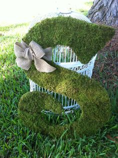 "18"" Wooden Letter S Covered in MOSS - Rustic Wedding - Monogram - Home Decor  - Wedding Decor on Etsy, $65.00"