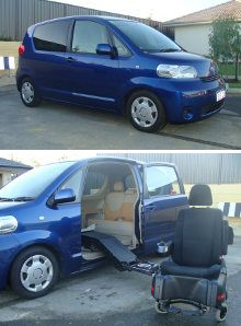 Porte showing wheelchair driver's seat, that doubles as an electric wheelchair.