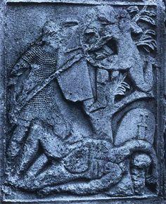 Roman Legionary thrusts a spear at a Dacian archer, Tropaeum Traiani metope 31 (c. 107/108 AD), Adamclisi, Romania