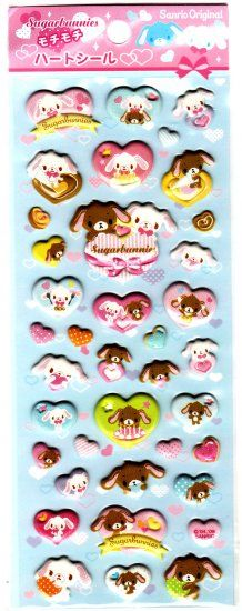 Sanrio+Japan+Sugarbunnies+Puffy+Hearts+Sticker+Sheet+Kawaii