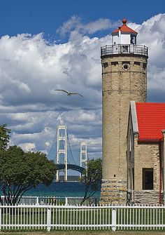 A breathtaking view of the Old Mackinac Point Light and the Mackinac Bridge...