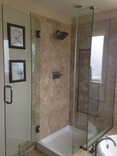 Shower Door and Glass Company. We offer services for shower doors, mirrors, shelves, exterior glass, and any other glass needs that you may have. Glass Company, Denver Colorado, Shower Doors, Corner Bathtub, Shelves, Bathroom, Washroom, Shelving, Full Bath