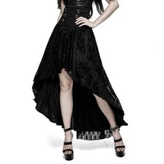 Black Embroidered High Low Gothic Fashion Corset Dress Skirt Women SKU-11406406