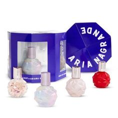 Complete with four favorite Ariana Grande fragrances, this perfume gift set offers a variety of irresistible scents. Ari Perfume, Perfume Glamour, Perfume Tommy Girl, Perfume Hermes, Perfume Gift Sets, Ariana Grande Perfume Set, Ariana Grande Fragrance, Shopping, Makeup Vanities