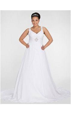 A-line V-neck Chapel Train Chiffon Plus Size Wedding Dress