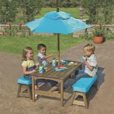 One Step Ahead - Sun Smarties Kids Picnic Table & Benches with Umbrella