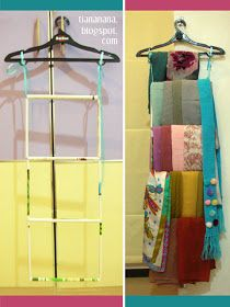 tealovecoffee: DIY: Scarf Hanger…I used scrap book paper when I made mine. It turned out very pretty. Scarf Organization, Home Organization, Organization Ideas, Storage Ideas, Scarf Storage, Scarf Holder, Diy Scarf, Furniture Care, Getting Organized