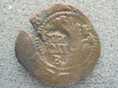 2 maravedís de Felipe II ceCa Coruña. Tiene un resello a IIII maravedís de BurGOS 1603