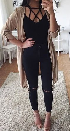 #summer #outfits Beige Cardigan + Black Lace-up Top + Black Ripped Skinny Jeans